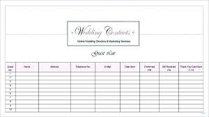 Excel Guest List Wedding Guest List Template On Templates Excel Formats Free