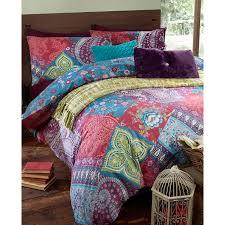 mia paisley patchwork purple duvet cover and pillowcase set