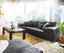 Bigsofa Marbeya Anthrazit 285x115 Cm Antik Optik Mit Kissen Big Sofa