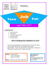 dallas public library teen centers want your business or organization to be a part of the job fair contact teen coordinator