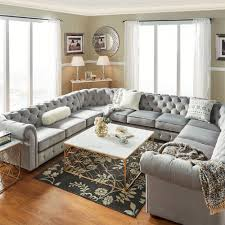 Knightsbridge Tufted Scroll Arm Chesterfield 11-seat U-shaped Sectional by  iNSPIRE Q Artisan (Beige Linen), Brown (Bonded Leather)