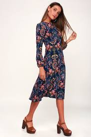 Lulus Size Chart Garden Splendor Navy Blue Floral Print Dress