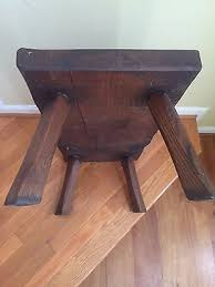 Vintage Pegged Wood Wooden Bench Footstool Plant Stand Hunt
