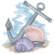 Seashells Design Anchor With Seashells Embroidery Design Annthegran