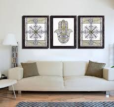 hamsa hand mandala print 3 piece wall
