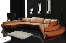 Modern leather couch Cognac Leather Contemporary Plan Ultra Modern Leather Sectional Sofa Set Toslf2056