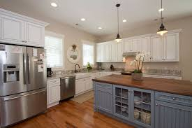 country pendant lighting. Country Kitchen With Flat Panel Cabinets, Ottava Pendant Lamp, High Ceiling, Hardwood Floors Lighting