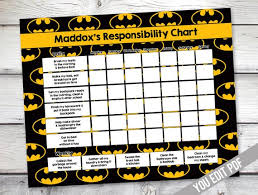 Batman Behavior Chart Batman Chore Chart Printable Boys Reward Chart