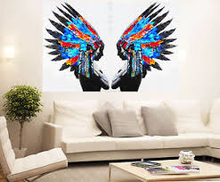 image is loading street pop wall art indian chief native print  on feather wall art australia with street pop wall art indian chief native print painting canvas