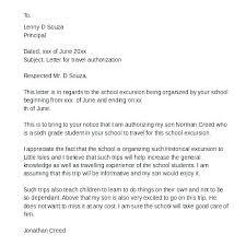 Permission To Travel Letter Parental Consent Letter Template Child