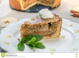 apple pie slice with whipped cream. Fine With One Slice Apple Pie With Whipped Cream And Mint On A Plate To With C
