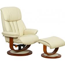 hereford leather swivel recliner chair with footstool