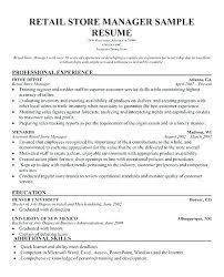 Store Manager Job Description Retail Assistant Manager Skills Resume