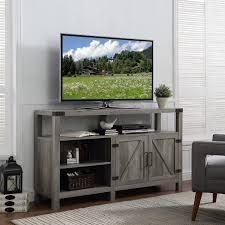 the gray barn kujawa 58 inch barndoor tv stand media console with french entry doors