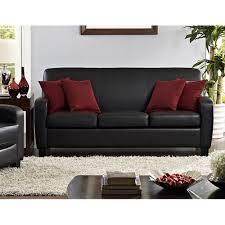 Image Sofa Living Walmart Mainstays Faux Leather Sofa Black Walmartcom