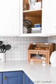 diy bread box in the corner of a kitchen counter