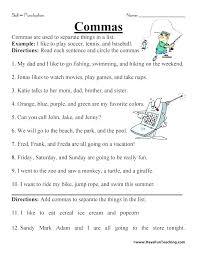 Comma Worksheets 5th Grade Mas Separate Things In List Worksheet
