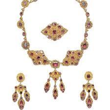 gold antique garnet suite necklace brooch cannetille set