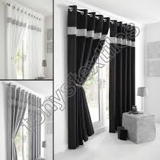 Black And White Curtain Designs Details About Fully Lined Pair Eyelet Diamante Ring Top
