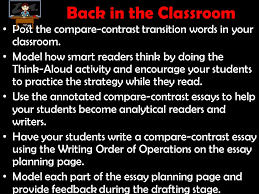 analytical thinking and writing in all subject areas ppt  back in the classroom post the compare contrast transition words in your classroom
