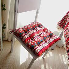 yazi red terranean bohemian style tie on dining room chair pad office square seat cushion