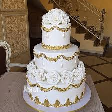 Traditional White And Gold Wedding Cake Bouquet Wedding Flower