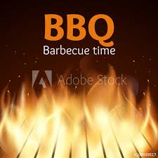Bbq Poster Grille With Fire Bbq Poster Flame For Barbecue Cooking Grilled
