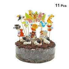 11pcs Cute Cake Toppers Forest Animal Cupcake Decoration Cake Picks