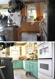 the householder painted the lower cabinets blue and the upper cabinets white changed upper cabinet