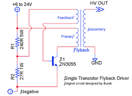 loneoceans laboratories flyback driver circuits as far as i know of this should be the easiest circuit which a high voltage output can be achieved the original version of this circuit used 2