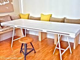 diy pallet outdoor dinning table. diy thin whitewashed pallet table on metal legs via scraphackercom diy outdoor dinning