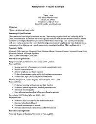 Resume Description For Cashier Inspiration Receptionist Resume