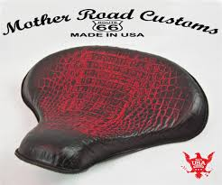 15x14 red gat leather spring solo tractor seat chopper bobber
