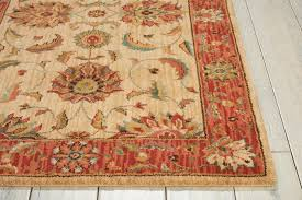 living treasures li04 ivory and red runner rug