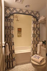 Double Shower Curtains Transitional bathroom Liz Caan Interiors