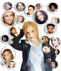 illustration of happy young businessw her social network illustration illustration of happy young businessw her social network of friends and clients on white background