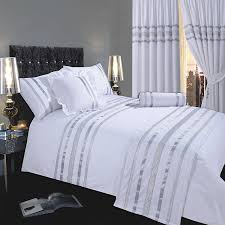 glamour white with silver trim super king size bed duvet quilt cover set luxurious 200 thread count 100 egyptian cotton with ribbon detailing by