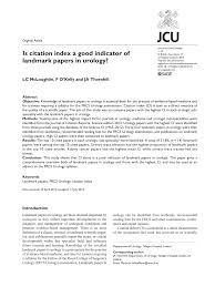 Pdf Is Citation Index A Good Indicator Of Landmark Papers In Urology