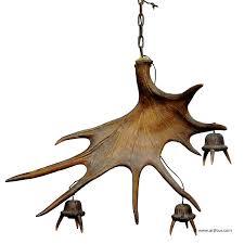 a large sculptural antique moose antler chandelier