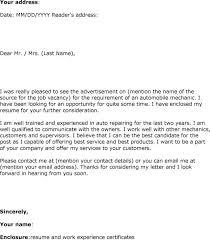 Mechanic Resume Line Service Technician Cover Letter Mechanic Best