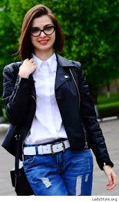 white shirt blue jeans and black leather jacket