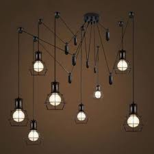 industrial style 8 lt multi light pendant with wire guard