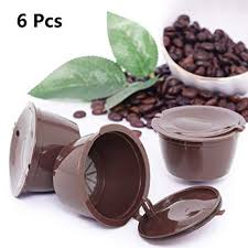 6 pcs pack refillable reusable refill coffee capsule pod filter bracket cup for nescafe dolce gusto machines cafeteira