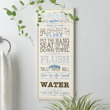 Art for bathroom Small Bathroom bathroom Rules Textual Art On Wood Wayfair Bath Laundry Wall Art