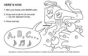 handwashing coloring page hand washing step