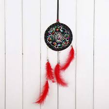 Chinese Dream Catcher Delectable Chinese Handmade Red Feather Dream Catcher For Wall Hanging Car