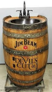 whiskey barrel sink ideas hammered copper rustic antique bathroom bar