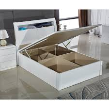 brand new grace high gloss double kingsize ottoman wooden storage bed frame in white black color