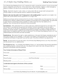 Wedding Contract Template For Florist