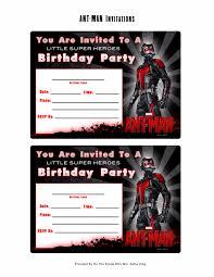 Print Out Birthday Invitations Free Marvel AntMan Printable Birthday Invitation Templates 41